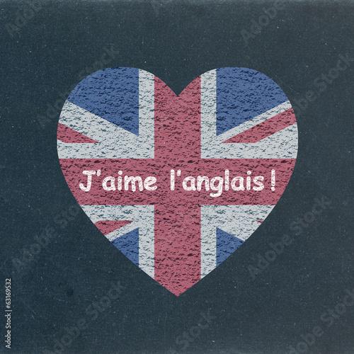 Jaime Langlais Sur Tableau Drapeau Coeur Langues English