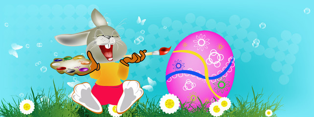 Happy Rabbit and Easter Egg.Holiday. Happy Easter.