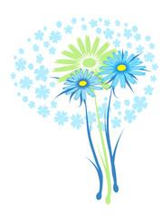 blue daisy, vector drawed