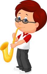 Cute boy plying saxophone