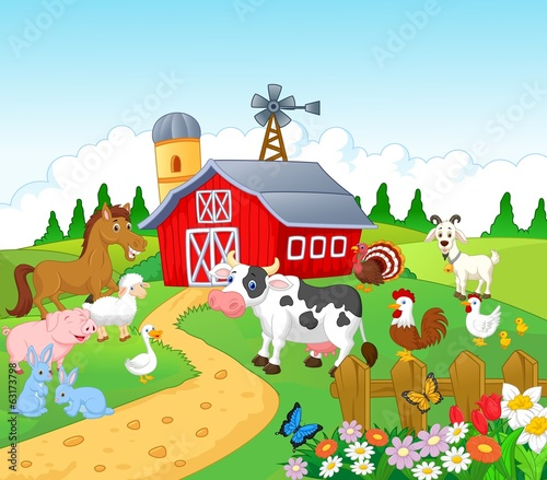 """Farm background with animals"" Stock image and royalty ..."
