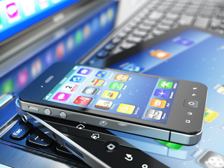 Mobile computing devices. Laptop, tablet pc and  cellphone.