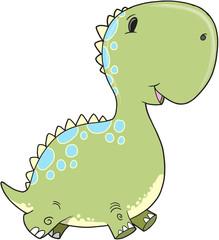 Cute Baby Dinosaur Vector Illustration Art