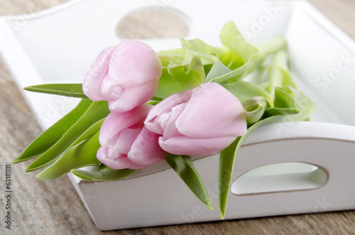 pink tulips as mother's day gift