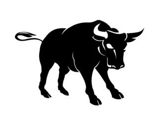 Vector Bull power pose  Threat behavior illustration