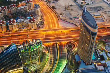 Downtown of Dubai (UAE) at night. The view from Burj Khalifa