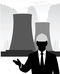 businessman on the background of a nuclear power plant