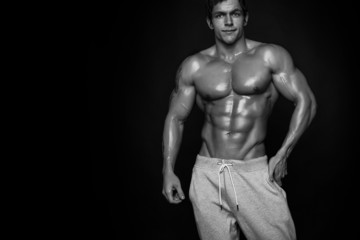 Strong Athletic Man Fitness Model Torso showing muscles isolated