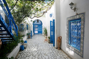 Photo sur Plexiglas Tunisie Courtyard in Sidi Bou Said