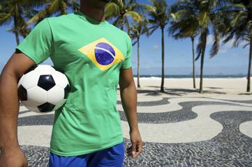 Brazilian Soccer Player Brazil Flag Shirt Holding Football Rio