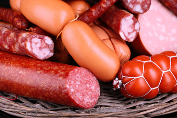 Lot of different sausages close-up background