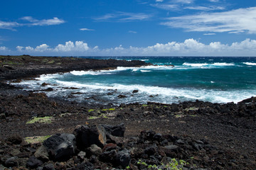 Rocky Beach Coastline of Hawaii Island on a  Clear Day