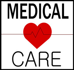 medical care graphic design with heart