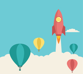 Rocket launching over the hot air balloon. Vector