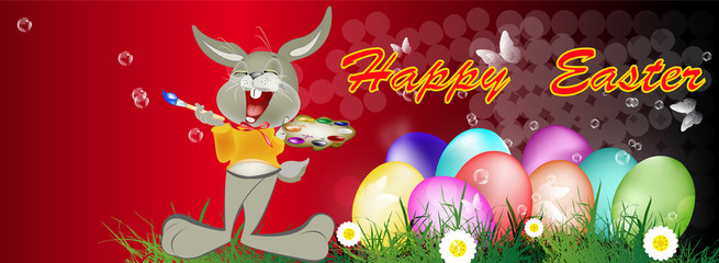 Happy Rabbit and Easter Eggs.Happy Easter.Vector