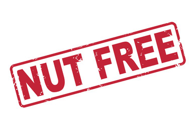 stamp nut free with red text on white