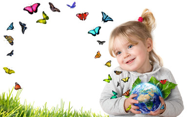 Wall Mural - environment concept, child holding earth with flying butterflies