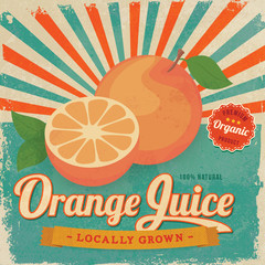 Colorful vintage Orange Juice label poster vector illustration