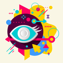 Eye on abstract colorful spotted background with different eleme