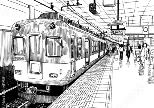 """Underground Railroad Pictures A Station Of The: """"Japan Metro Train Station Platform In Osaka Drawing Ink"""