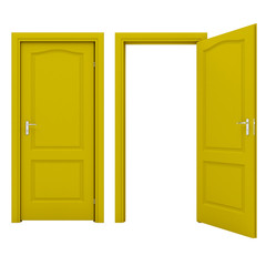 Open yellow door