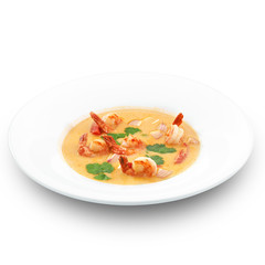 Spicy healthy thai tom yum soup. Isolated on white