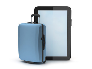 Tablet computer and suitcase on white background