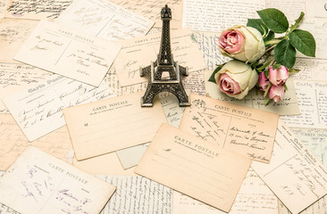 roses, french postcards and souvenir Eiffel Tower Paris