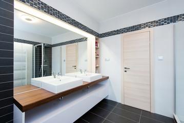 interior of modern bathroom with shower