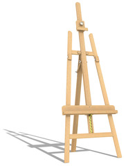 Easel. Side view of an Easel. Hard shadow.