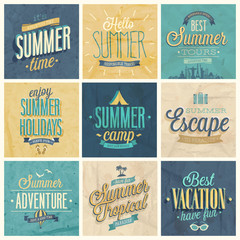 Wall Mural - Summer set - labels and emblems.