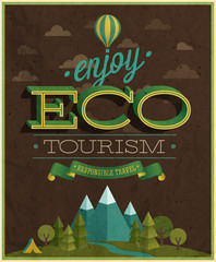 Wall Mural - Eco Travel poster. Vector illustration.