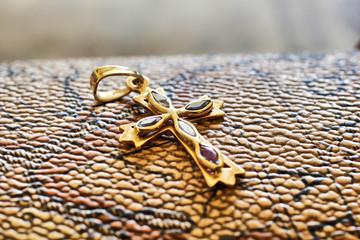 Metal golden cross