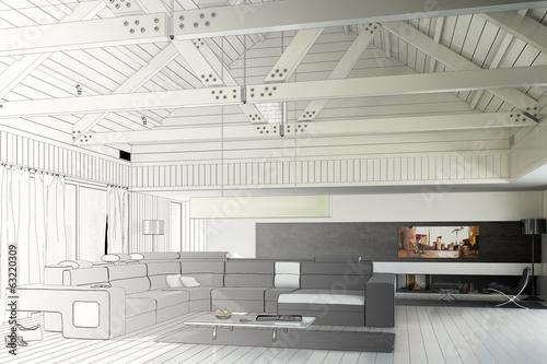 sanierte landhaus architektur zeichnung stockfotos und. Black Bedroom Furniture Sets. Home Design Ideas