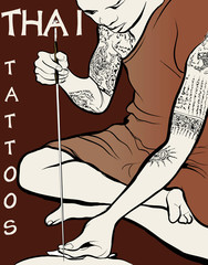 Monk tattooist - Thai Tattoos