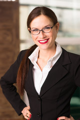 Attractive Brunette Female Business Woman CEO Office Workplace
