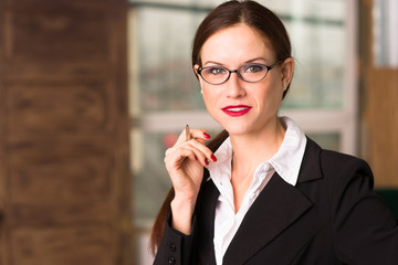Business Woman Female Holds Pen Taking Dictation Office Work
