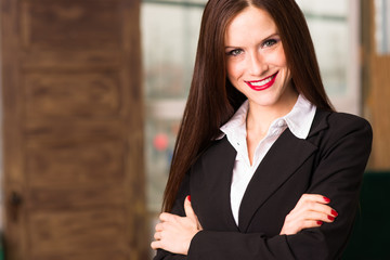 Business Woman Female Arms Crossed Smiling Office Workplace