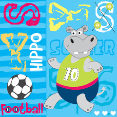 hippo football player vector illustration