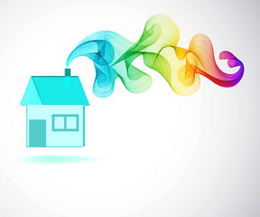 House icon and Color abstract wave