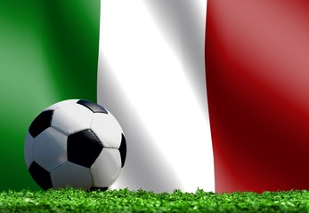 Soccer Ball with Italian Flag Background