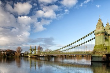Hammersmith Bridge over the river Thames in London, England, UK