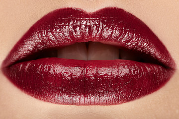 Lips. Color lipstick. Close up.