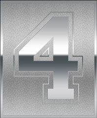 Silver Casted Number 4 Position, Place Sign