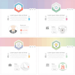 flat widget elements with icons for website, mobile and printing