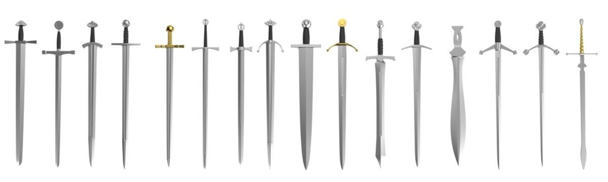 realistic 3d render of swords