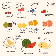 Fresh juicy fruits set. EPS 10  Vector
