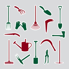 gardening tools stickers eps10