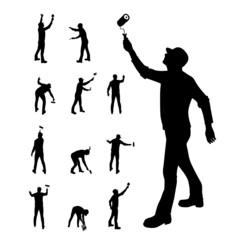 man painting walls in various poses vector illustration