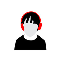 Person with headphones vector illustration